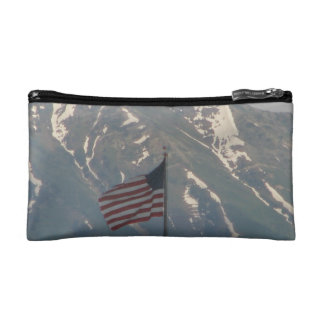 American Flag with Utah Mountain Background Makeup Bag