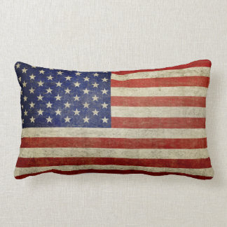 American Flag with vintage finish Lumbar Pillow