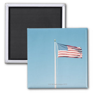 American flag with vintage look 2 inch square magnet