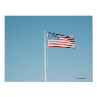 American flag with vintage look poster