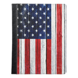 American Flag with woodgrain texture iPad cover
