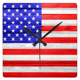 American Flag Wood Square Wall Clock