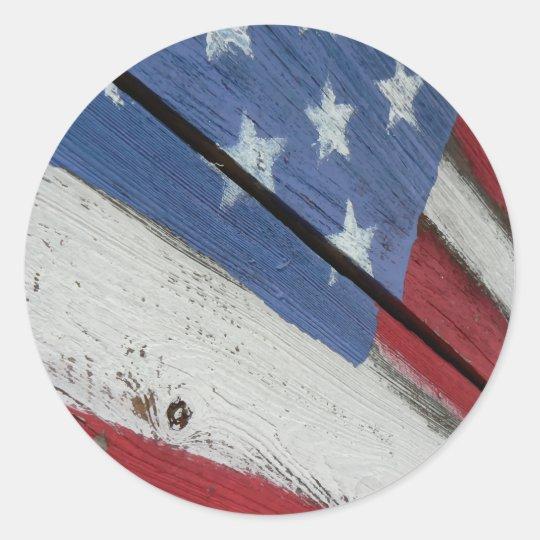 American Flag Wood Grain Classic Round Sticker