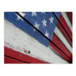 American Flag Wood Grain Postcard