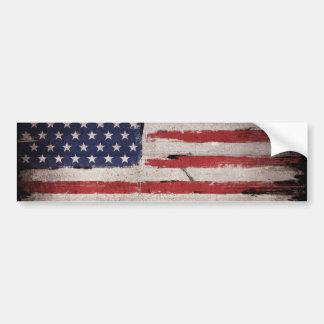 American flag Wood Grunge Vintage Bumper Sticker