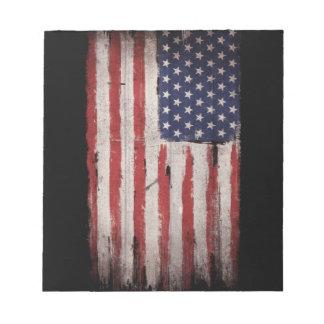 American flag Wood Grunge Vintage Notepad