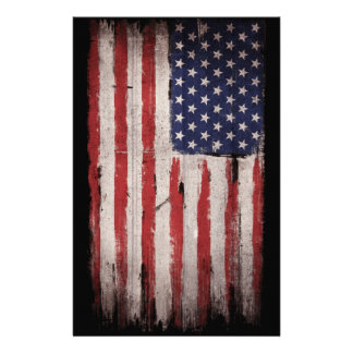 American flag Wood Grunge Vintage Stationery