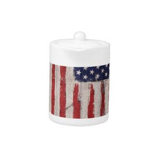 American flag Wood Grunge Vintage Teapot