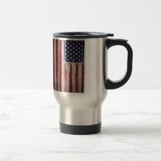 American flag Wood Grunge Vintage Travel Mug
