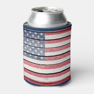 """American Flag """"Wood Image"""" Can Cooler"""