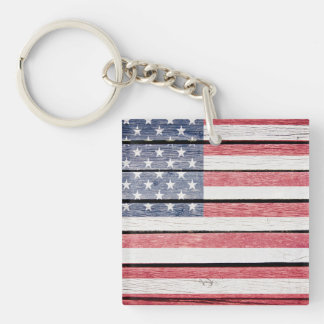 """American Flag """"wood image"""" Key Chain See Back Also"""