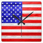 American Flag Wood Square Wallclock