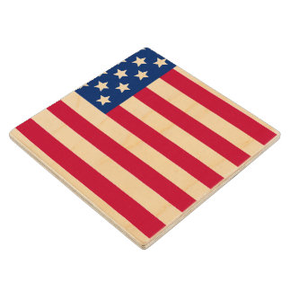 American Flag Wooden Coaster
