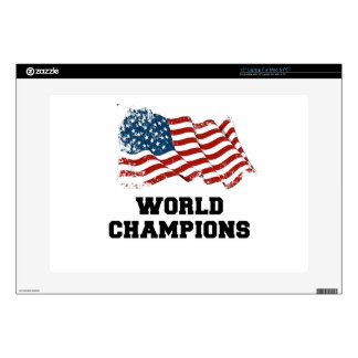 """American Flag World Champions Decals For 15"""" Laptops"""