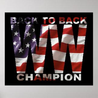 American Flag World War Champion Poster