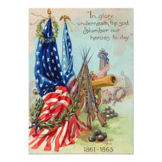 American Flag Wreath Civil War Memorial Invitation
