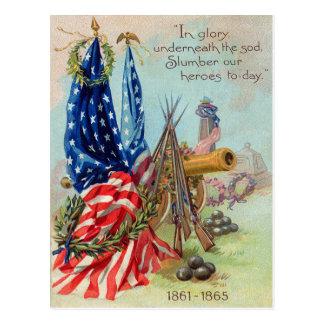 American Flag Wreath Civil War Memorial Postcard
