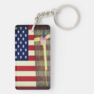 American Flag - Yellow Ribbon Round Tree Key Chain Rectangular Acrylic Key Chain