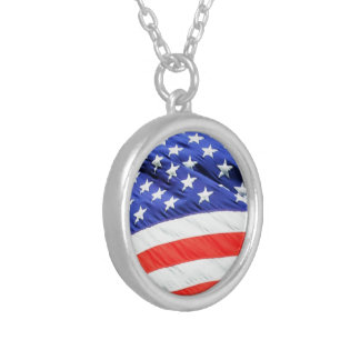 American Flag, you can add text and upload photos Silver Plated Necklace