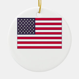 American Flag (Your Text) Ceramic Ornament