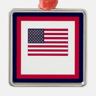 American Flag (Your Text) Metal Ornament