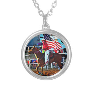 American Flage bearer at the Merbein Rodeo Silver Plated Necklace