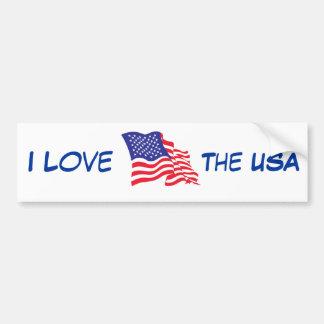 American FlagI I love the USA Bumper Sticker