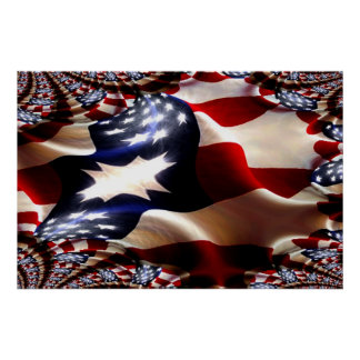 American Flags and More Flags Fractal Poster