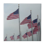 American Flags at the Washington Monument Ceramic Tile