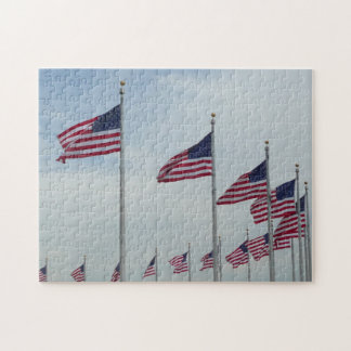 American Flags at the Washington Monument Jigsaw Puzzle