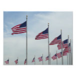 American Flags at the Washington Monument Photo Print