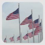 American Flags at the Washington Monument Square Sticker