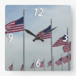 American Flags at the Washington Monument Square Wall Clock