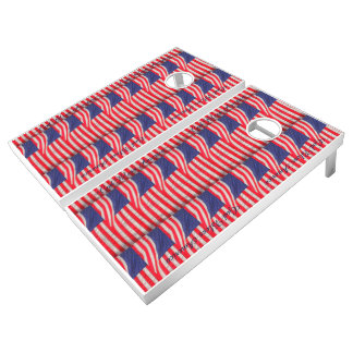 American Flags Beanbag Toss Customized Lawn Game Cornhole Set