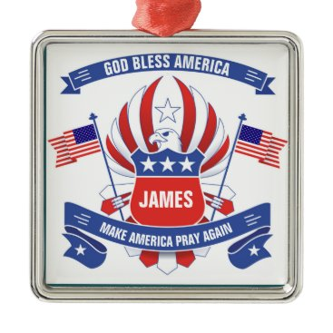 American Flags Eagle Shield PERSONALIZED NAME Metal Ornament