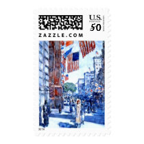 American Flags on Fifth Avenue New York by Hassam Postage