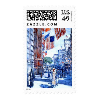 American Flags on Fifth Avenue New York by Hassam Stamp