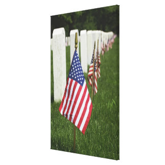 American flags on tombs of American Veterans on 2 Canvas Print