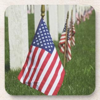 American flags on tombs of American Veterans on 2 Beverage Coasters
