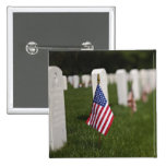 American flags on tombs of American Veterans on 2 Inch Square Button