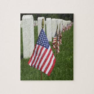 American flags on tombs of American Veterans on 2 Jigsaw Puzzle