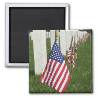 American flags on tombs of American Veterans on 2 Magnet