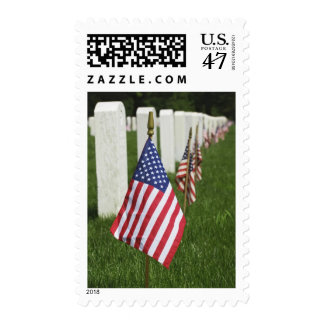 American flags on tombs of American Veterans on 2 Postage
