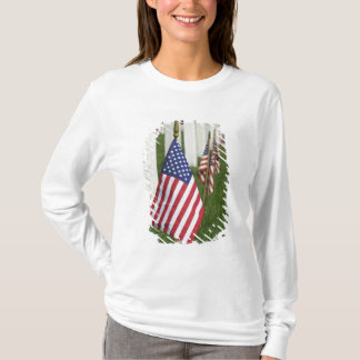 American flags on tombs of American Veterans on 2 T-Shirt