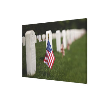 American flags on tombs of American Veterans on Canvas Print