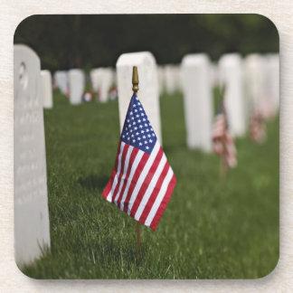 American flags on tombs of American Veterans on Drink Coasters