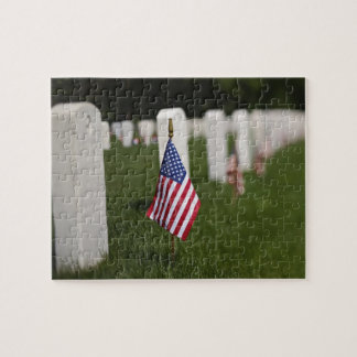 American flags on tombs of American Veterans on Jigsaw Puzzle