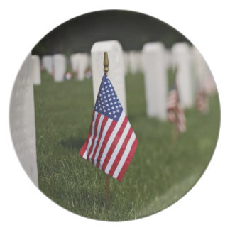 American flags on tombs of American Veterans on Plates
