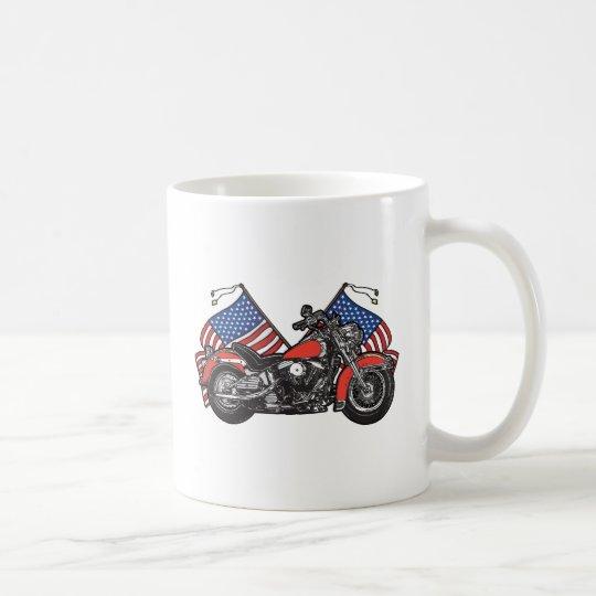 American Flags Patriotic Motorcycle Coffee Mug