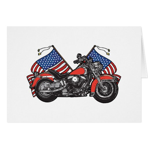 American Flags Patriotic Motorcycle Greeting Cards